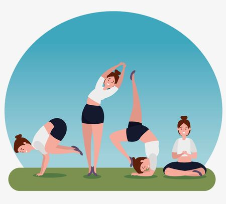women practice yoga pose exercise to healthy lifestyle, vector illustration