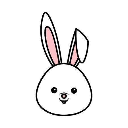 cute rabbit head character vector illustration design Stock Illustratie