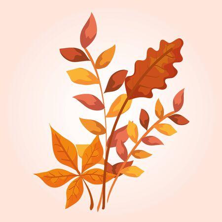 nature branches leaves plants design over pink background, vector illustration