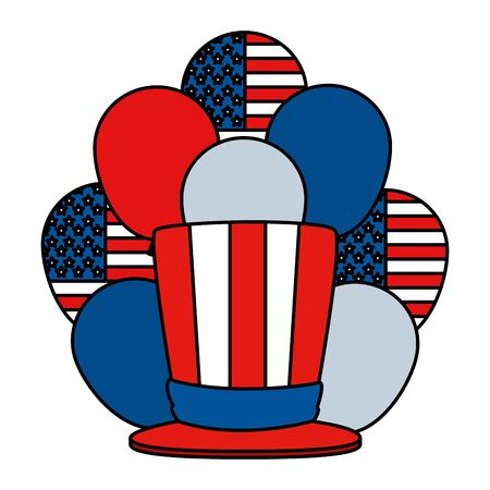 tophat and balloons helium with united states of america flag vector illustration