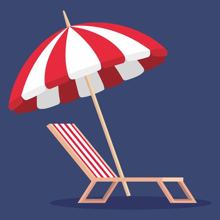 umbrella with tanning chair to summer time over blue background vector illustration
