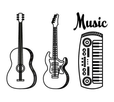 set of guitars with piano play art instruments to music style vector illustration