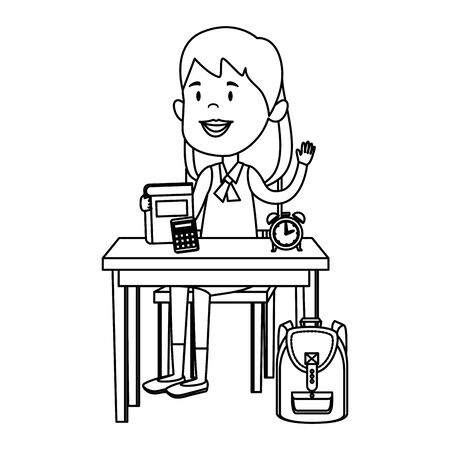happy student girl with supplies seated in school desk vector illustration design Standard-Bild - 129795061