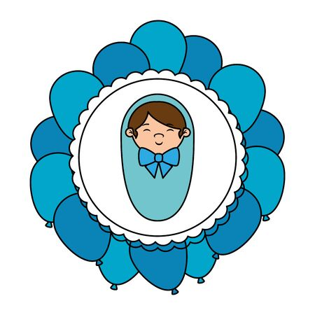 cute little boy baby in lace with balloons helium vector illustration design