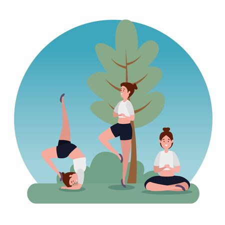 woman practice yoga balance exercise with tree and bush plant, vector illustration 일러스트