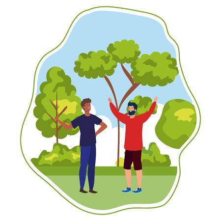 interracial young men friends celebrating in the park vector illustration design 일러스트