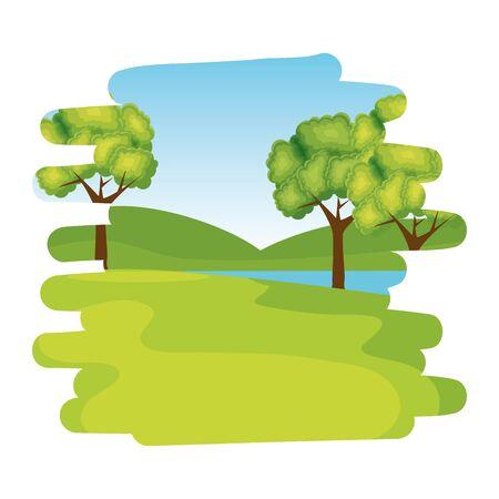forest landscape scene isolated icon vector illustration design