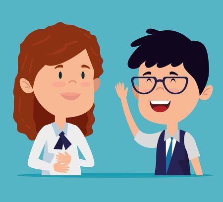 girl and boy with casual clothes and talking over blue background vector illustration