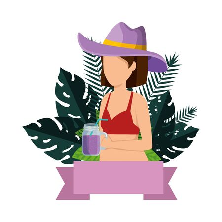 beautiful woman with swimsuit and cocktail vector illustration design