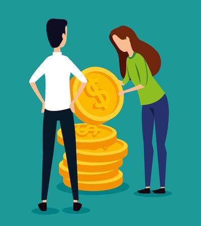 professional businessman and businesswoman teamwork with coins to strategy plan, vector illustration Standard-Bild - 129795255