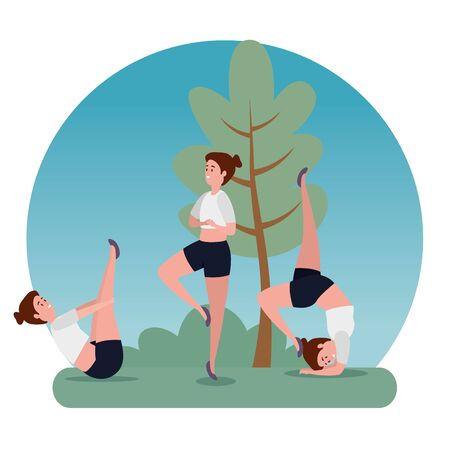 women training yoga meditation harmony with tree and bush plant, vector illustration