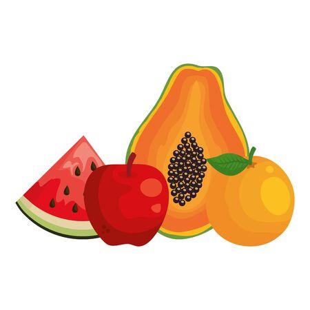 group of fresh fruits healthy food vector illustration design