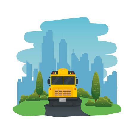school bus transport isolated icon vector illustration design  イラスト・ベクター素材