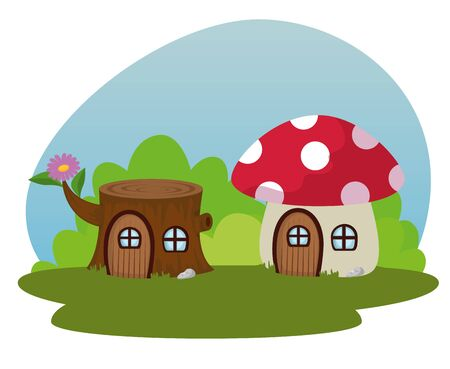 trunk tree and fungus house with door and window to fantasy story, vector illustration
