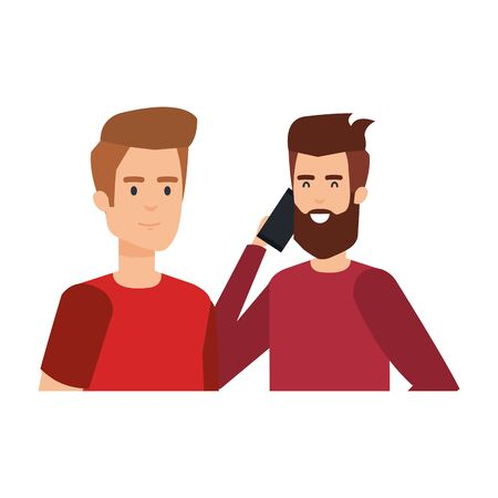 young and casual couple men with smartphone vector illustration design