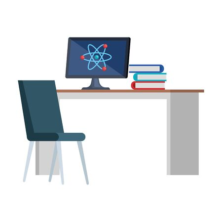 computer with atom molecule in desk and books vector illustration design