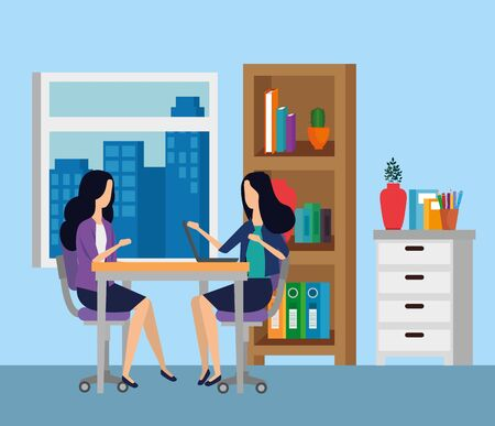 businesswomen sitting in the chair with table and books in the business office, vector illustration