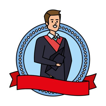 young man student graduated in ribbon emblem vector illustration design