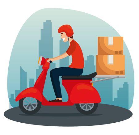Repartidor en la motocicleta con paquetes de cajas a la ilustración de vector de servicio de distribución Ilustración de vector