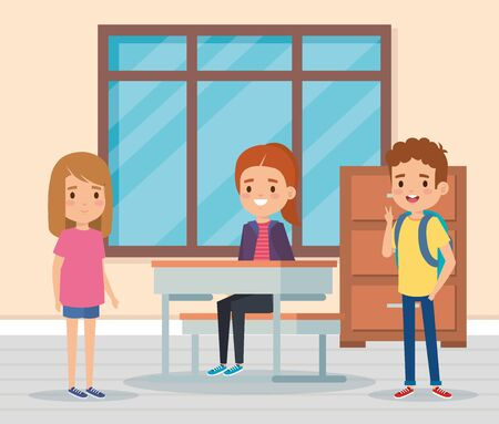 girls and boys children in the academic classroom with desk and cabinet vector illustration
