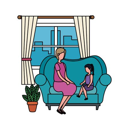 grandmother with granddaughter in the sofa characters vector illustration design Foto de archivo - 129795429