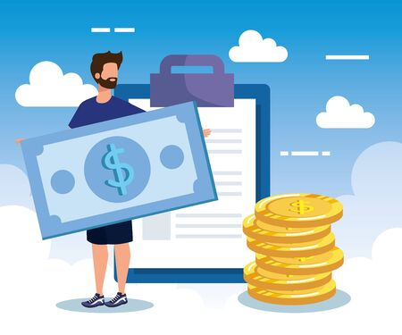 businessman with bill and coins cash money and document with clouds, vector illustration Standard-Bild - 129795436