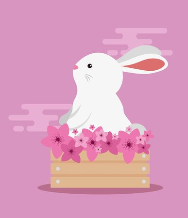 rabbit animal in the wood basket with flowers decoration over pink background, vector illustration