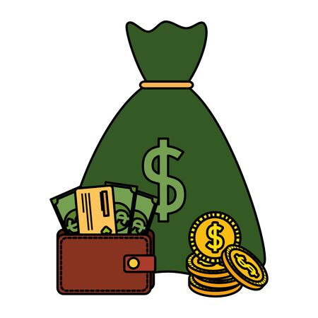 money bag with coins and wallet with bills dollars vector illustration design
