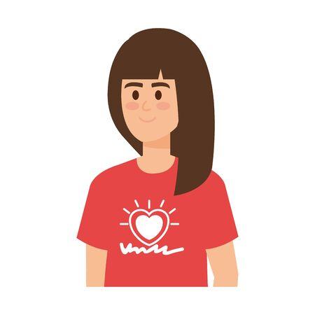 young woman volunteer character vector illustration design