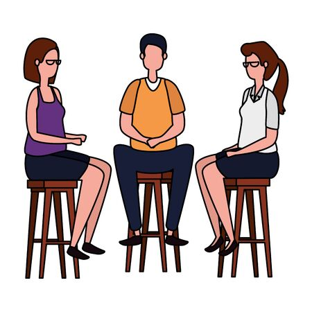 elegant business people seated in benchs vector illustration design