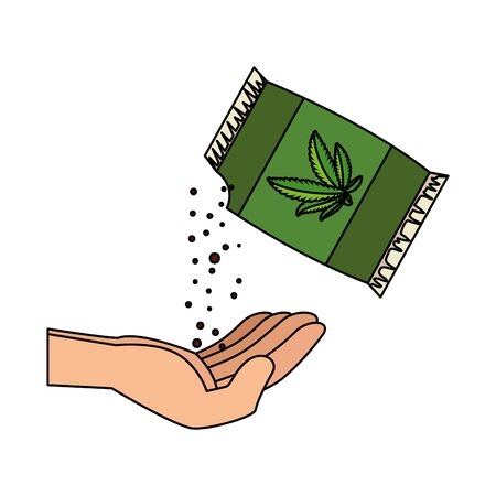 hand with cannabis seeds bag packing vector illustration design Stock fotó - 129788876