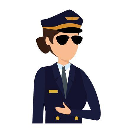 female aviation pilot avatar character vector illustration design Иллюстрация