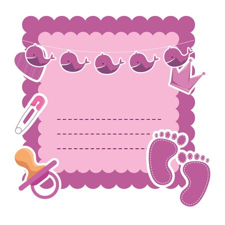 baby shower card with pacifier and crown vector illustration design Banque d'images - 129752796