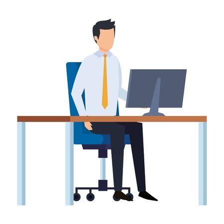 elegant businessman in the workplace vector illustration design