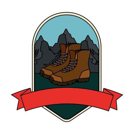 frame with boots vector illustration design Ilustração