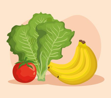 fresh lettuce with tomato vegetables and bananas fruits over pink background, vector illustration