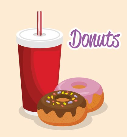 yummy donuts with beverage vector illustration graphic design  イラスト・ベクター素材