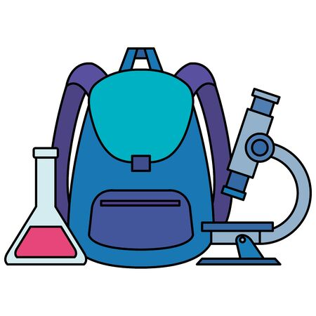 school bag supply with microscope and tube test vector illustration design Stock Illustratie