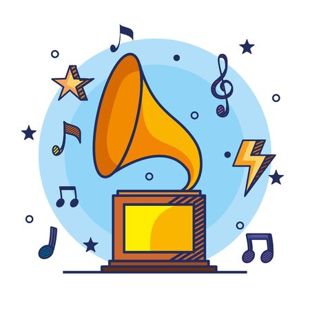 turntable with treble clef and quaver with beam notes to music melody vector illustration