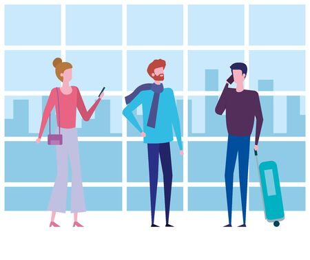 woman and men with baggage and casual clothes to travel service, vector illustration