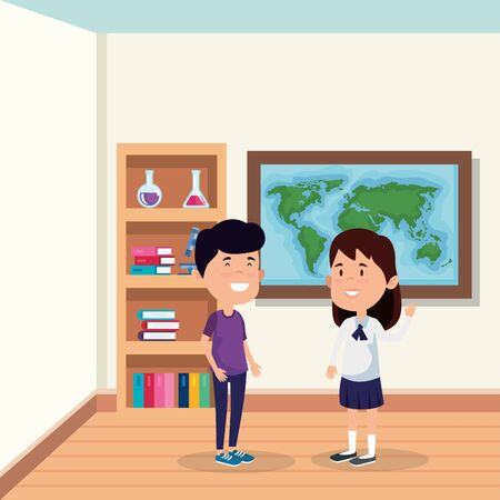 little students couple in the school scene vector illustration design