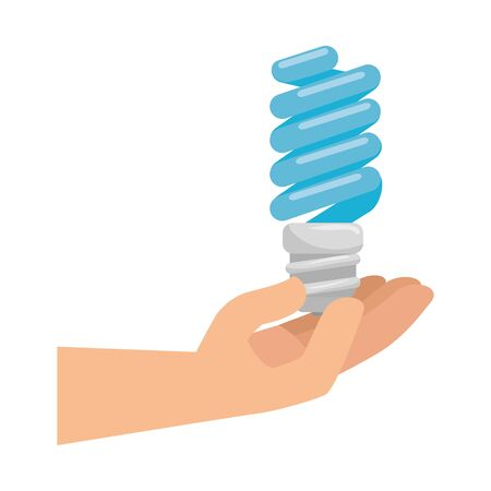 hand with saver bulb energy icon vector illustration design Stock Illustratie