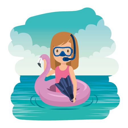 little girl with flemish float and snorkel on the sea vector illustration design