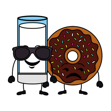 delicious milk glass and donut characters vector illustration design