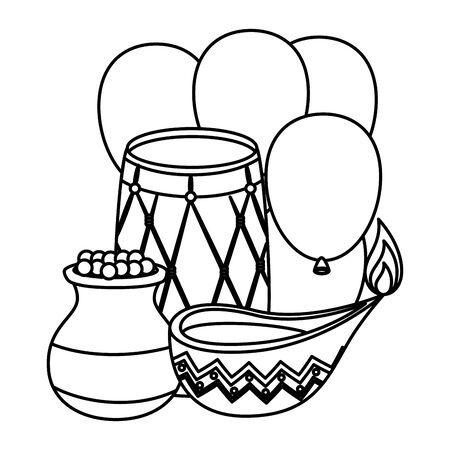 indian drum with balloons helium and candle vector illustration design