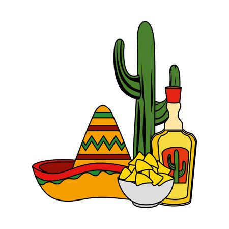 tequila with mexican hat and nachos cinco de mayo celebration vector illustration  イラスト・ベクター素材