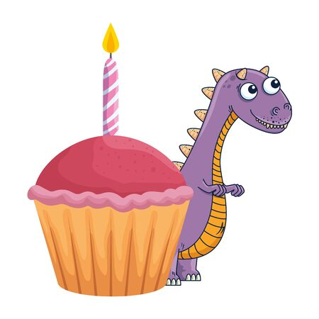 cute tyrannosaurus rex with sweet cupcake vector illustration design