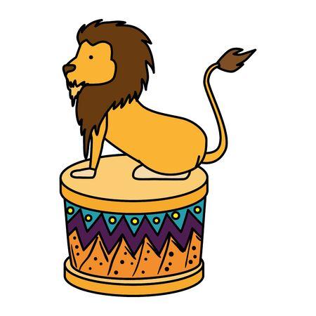 leone del circo addomesticato in fase di illustrazione vettoriale design Vettoriali