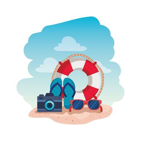 summer flip flops with camera and float vector illustration design