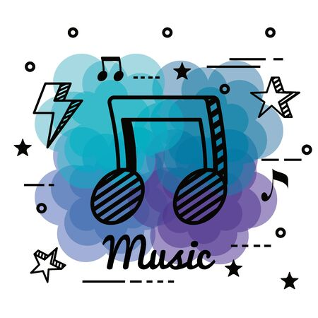 musical notes melody with stars and thunder to music style vector illustration